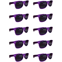 BULK UNISEX SUNGLASSES- Retro Neon Party Style (Weddings, Promotions, Birthdays) (Purple)