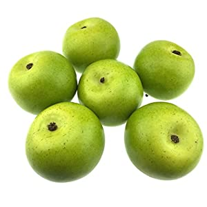 Gresorth 6pcs Lifelike Artificial Green Apple Faux Fake Apples Fruit Home House Kitchen Cabinet Decoration 18