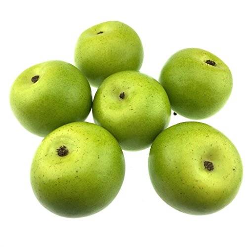 Gresorth 6pcs Lifelike Artificial Green Apple Faux Fake Apples Fruit Home House Kitchen Cabinet Decoration