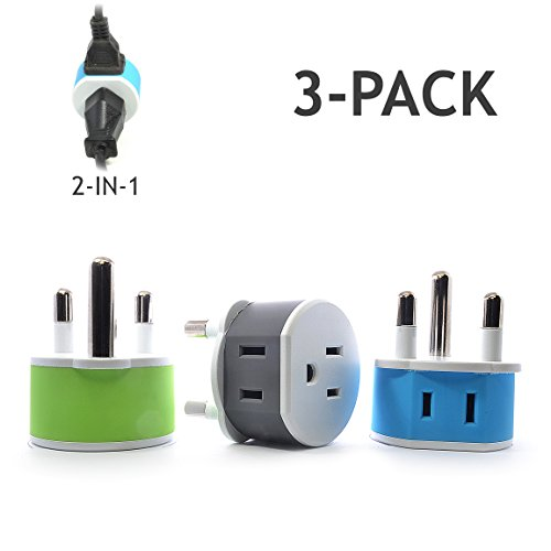 OREI South Africa, Botswana, Namibia Travel Plug Adapter - 2 USA Inputs - 3 Pack - Type M (US-10L) - Does Not Convert Voltage (Socket Pin Round Outlet)