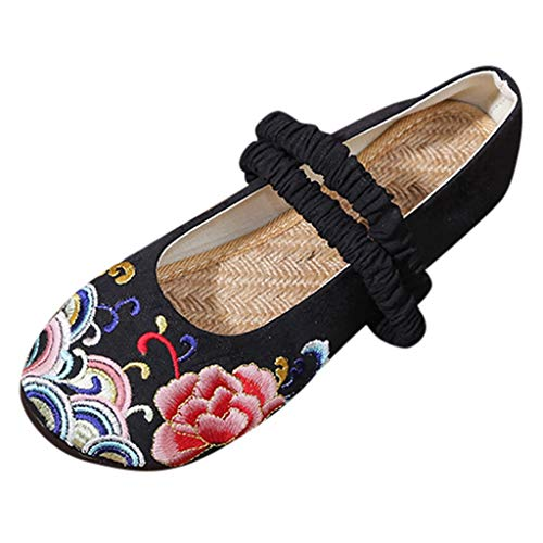 Fashion Women's Retro Traditional Chinese Ethnic Style Slip On Loafers Flats Lady's Casual Shoes Black