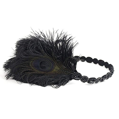 r Headpiece Roaring Beaded Gatsby Peacock Headband Accessories Costume Adult Women (Black) ()