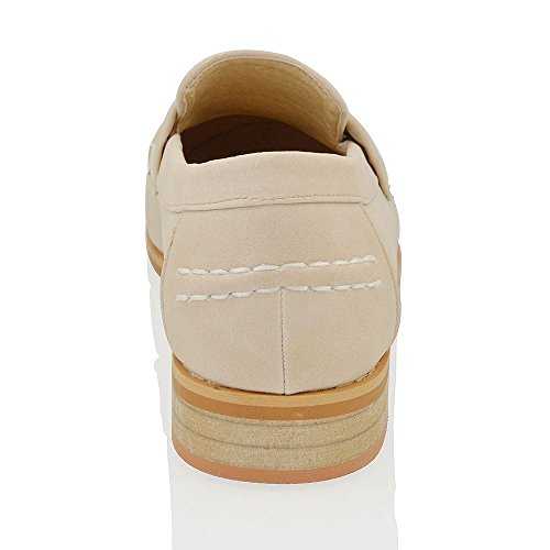 Pumps Gillian Slip Flache Loafers Smart On Damen SYNTHETIC Damen Fringe Schuhe Neue NUDE LEDER Office w0EqXTxw