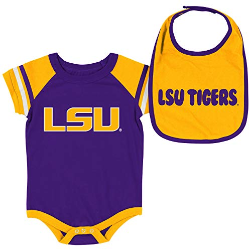Colosseum NCAA Baby Short Sleeve Bodysuit and Bib 2-Pack-Newborn and Infant Sizes-LSU Tigers-3-6 Months