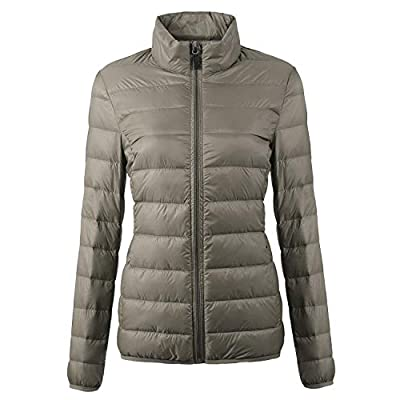 CIOR Women's Packable Down Jacket Ultra Light Weight Short Puffer Coat with Travel Bag: Clothing