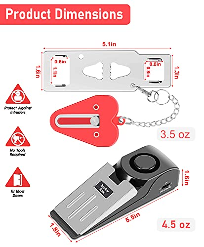 MBBEST Portable Door Lock & Door Stop Alarm,Dual Protection Security Door Kit,Door Security Devices Pocket Door Stopper Self Defensey Tools for Travel Home Apartment House(2 Pack)
