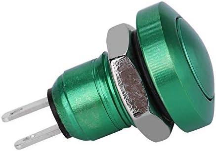 Aramox 押しボタンスイッチ,1A 24V 8mm 亜鉛アルミ合金 ミニ防水 車の一時的な押しボタン 車の瞬間押しボタン 電源スイッチ(緑)