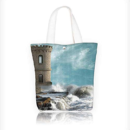 Women's Canvas Tote Handbags Middle Age Tower by the Sea Renaissance Buildings Dreamy Princess Home Casual Top Handle Bag Crossbody Shoulder Bag Purse W11xH11xD3 INCH (Renaissance Princess Purse)