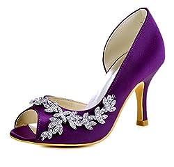 Purple Heels Peep Toe Shoe With Rhinestones