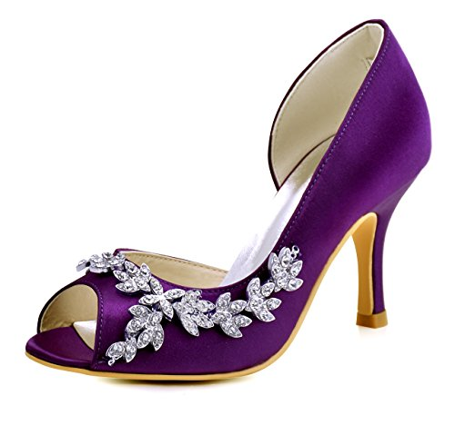 ElegantPark HP1542 Women Peep Toe Rhinestones Pumps High Heel Satin Wedding Bridal Dress Shoes Purple US 9