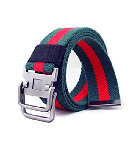 Micrkrowen Fashion Double Buckle Casual Stripes Canvas Waist Belt(green red) Stripe Double Wrap Belts