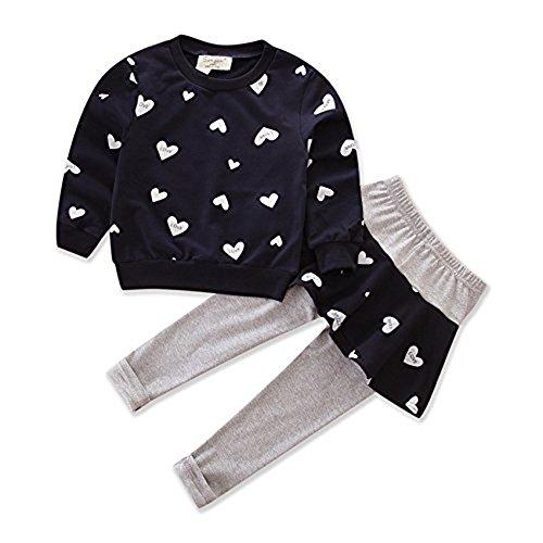 - Little Girls' Kids 2 Pieces Long Sleeve Top Pants Tutu Leggings Dress Clothes Set Outfits (6-7 Year, Dark blue)