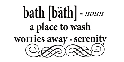 Bath : a place to wash worries away, serenity Vinyl wall art Inspirational quotes and saying home decor decal sticker steamss