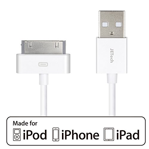 iPhone 4s Cable, JETech USB Sync and Charging Cable for iPhone 4/4s, iPhone 3G/3GS, iPad 1/2/3, iPod - 3.2 Feet 1 Meter - 0156 (Sync Cable For Iphone 4)