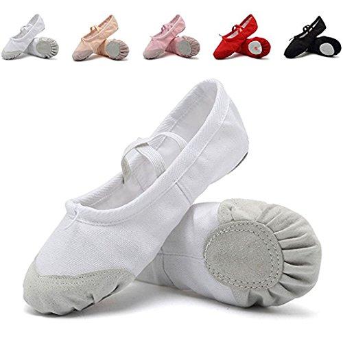 DoGeek Gute Qualität Ballettschuhe Weich Spitzenschuhe Ballet Trainings Schläppchen Schuhe für Mädchen/Damen in Den Größen 22-44 (Bitte Bestellen Sie eine Nummer grösser) Weiß