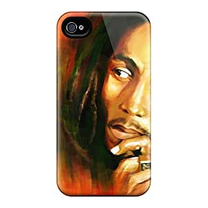 Shock Absorbent Hard Phone Case For Iphone 4/4s (skw1772oLCY) Unique Design High-definition Bob Marley Skin