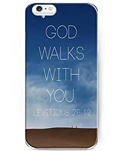 wodengni Back Cover Snap on Case for 4.7 inch iPhone 6 with Inspiration Bible Sayings God Walks With You