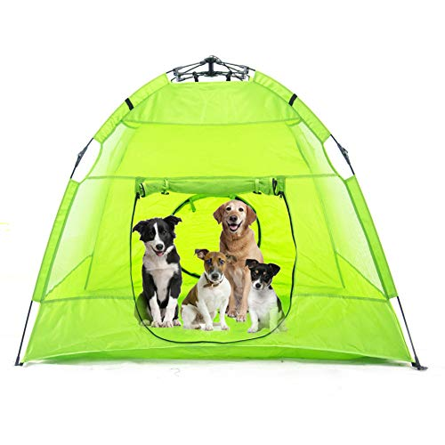 porayhut Portable Outdoor Pet Tent for Dogs, Foldable Outdoor Cat Cage Pet Bed Instant Habitat Net with Two Entrance Air Ventilate Mesh Fabric