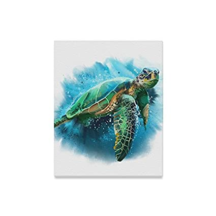 Interestprint Watercolor Sea Turtle Canvas Prints Wall Art Wood Framed Abstract Canvas Paintings For Wall And Home Decor 16 X 20
