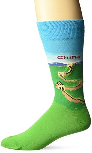 - Hot Sox Men's Fashion Travel Crew Socks, China (Light Blue), Shoe Size:6-12/Sock Size: 10-13