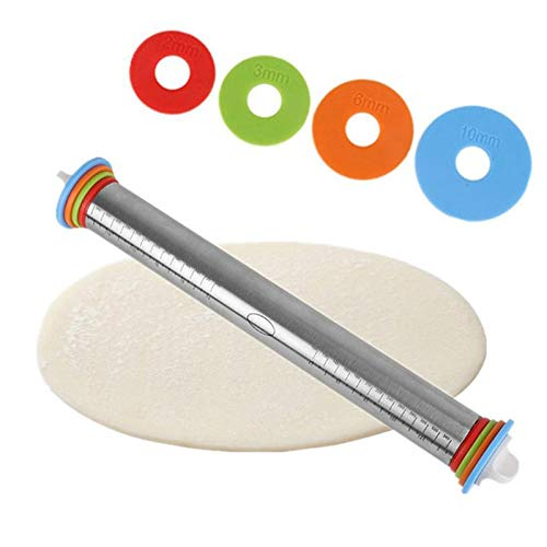 Pinwheel Brooch Pin - Rolling Pins Pastry Boards - 1pc Stainless Steel Rolling Pin 4 Adjustable Discs Non Stick Removable Rings Dough Dumplings Noodles - Pizza Wartenberg Binder Pin Kitchen Ring Scoop Ring Pin Cutter