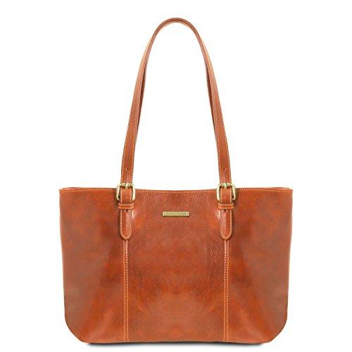 con manici pelle due Tuscany Borsa Miele shopping in Leather Miele Annalisa q8qwxZYA