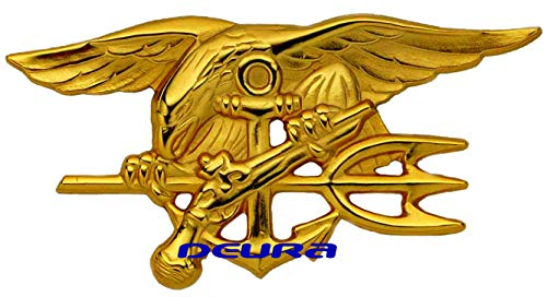 DEURA US Navy Seal Badge Trident Insignia - Bud - Gold Plated Size 2 3/4