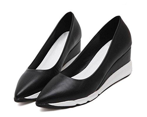 Frau Frühling spitze Schuhe Aufzug Schuhe dick Muffin Steigung Kruste mit Schuhen mit hohen Absätzen Schuhen Single Black
