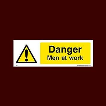 Amazon.com: Danger Men at Work cartel de plástico con doble ...
