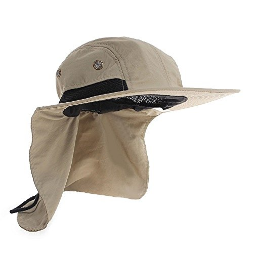 UV Protection Outdoor Sun Snap Hat Neck Flap Ear Cover Wide Brim Sun Cap - For Cool Sale Hats