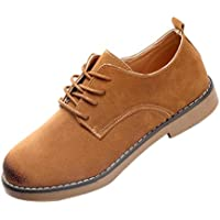 Women's Lace Up Low Chunky Heel Casual Oxford Shoes (US:7.5/ CN:40(Foot Length: 9.7-9.9 inches), Brown)
