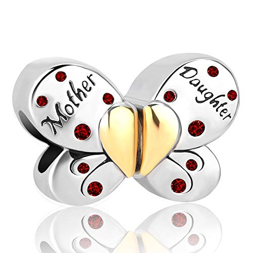 Cherris Love Mom Mother Daughter Charms Butterfly Charms Beads for Bracelets (January)