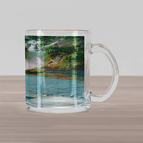 Ambesonne Waterfall Glass Mug, Image of a Grand Waterfall with Swans in The Lake Sunny Day Nature Print, Printed Clear Glass Coffee Mug Cup for Beverages Water Tea Drinks, Blue Green White - Grande Clear Glass Waterfall