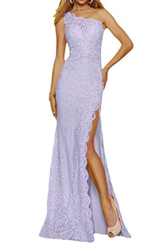 Damen Ivydressing Partykleid Abendkleid Schulter Lila Spitze Promkleid Ein Schlitz Lang qqxrwnZdp