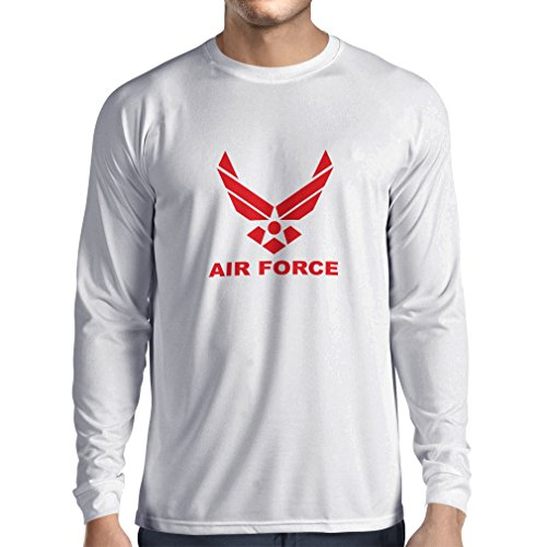 Long Sleeve t Shirt Men United States Air Force (USAF) - U. S. Army, USA Armed Forces (XXX-Large White Red) (Airman Fitted T-shirt)