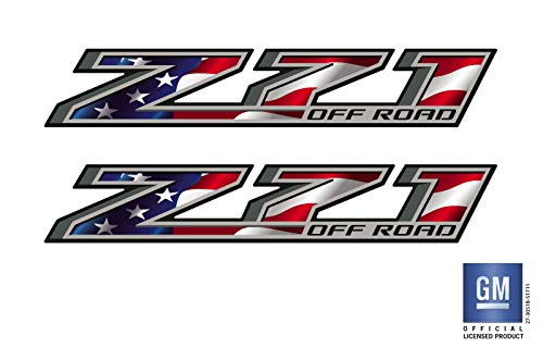 EmblemsPlus 2014 2015 2016 2017 2018 Chevy Colorado Truck Z71 Off Road American Flag Bed Side Decals Stickers Set of (2) GM Official Licensed Product