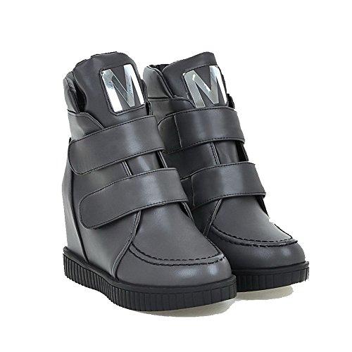 VogueZone009 Damen Rund Zehe Niedrig-Spitze Hoher Absatz Gemischte Farbe Stiefel Grau