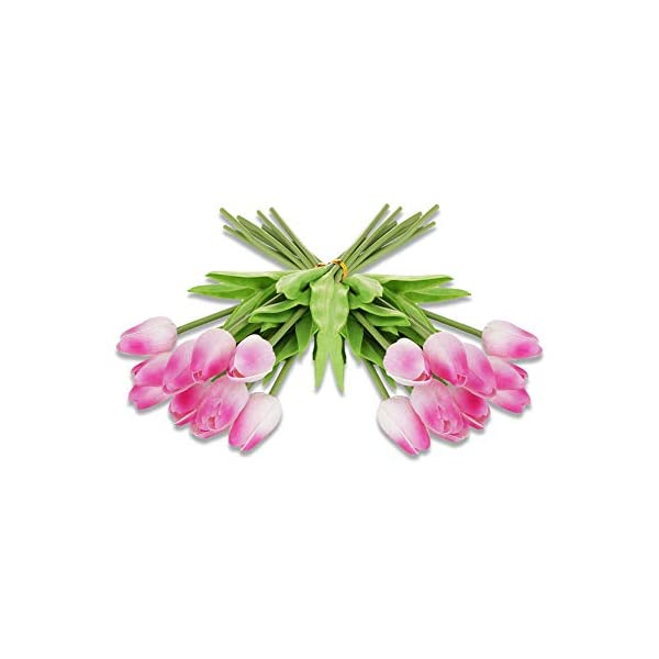 Ezflowery 20 Heads Artificial Tulips Flowers Real Touch Arrangement Bouquet for Home Room Office Party Wedding Decoration, Excellent Gift Idea for Mothers Day (20, Pink)