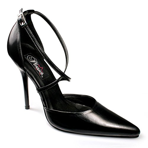 Womens Pointed Toe Pumps 4 1/2 Inch Heel Crisscross Strap D'Orsay Black Leather Size: 11 - Criss Cross Pump
