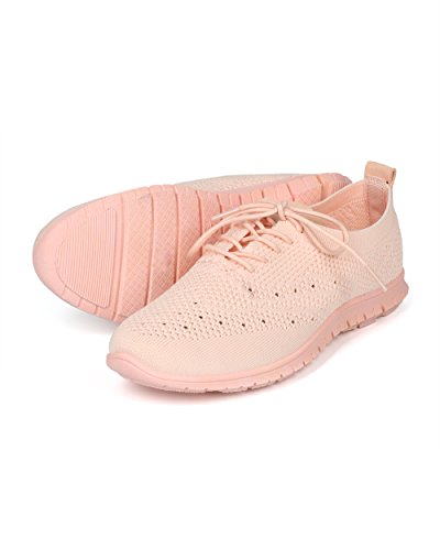 Alrisco Women Fabric Knit Lace Up Oxford Sneaker - HH09 by Qupid Collection Pink ao6d24wkS