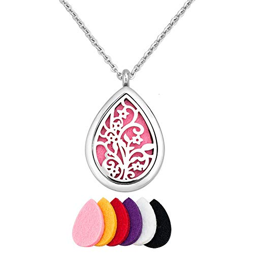 Moonlight Photo (Moonlight Collection Teardrop Flower Floral Ivy Leaves Pendant Locket Essential Oil Diffuser Necklace Aromatherapy Jewelry + Refills)