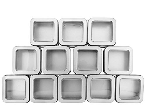 (Square Silver Metal Tins w/View Window (12-Pack); Empty 1/2 Cup / 4-Ounce Capacity Clear Top Metal Boxes Great for Candles, Candies, Gifts, Balms & Treasures)