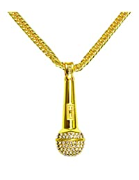Jenhianeck Mens Hip Hop DJ Stainless Steel Crystal Microphone Tag Pendant Necklace With Chain