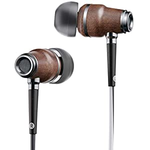 Symphonized NRG X Wood Earbuds Wired with Microphone, Stereo in Ear Headphones for Android, Noise Isolating Earphones with Angle-Fit Ear Tips, Corded Ear Buds with Booming Bass (Black & White)