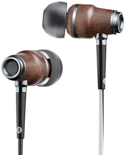 Symphonized NRG X Premium Genuine Wood Earbuds, in-Ear Noise-Isolating Headphones, Earphones with Angle-Fit Ear Tips, in-line Microphone and Volume Control, Stereo Earphones (Black&White)