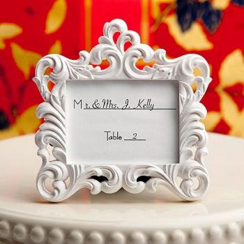 Victorian Baroque Style Place Card Frame (50 - Baroque White Frame