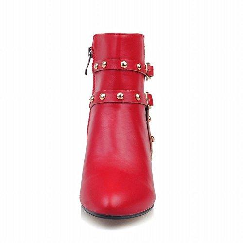 Carolbar Mujeres Pointed Toe Multi Hebilla Zip Remache Kitten Heel Dress Botas Rojo