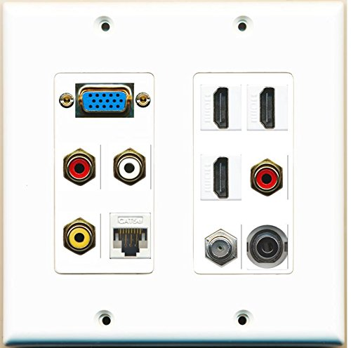 RiteAV - (SVGA Plate 2 Gang 3 HDMI Coax Cat5e White Composite Video RCA 3.5mm Wall Plate