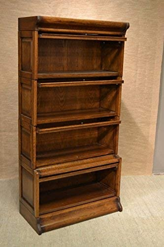 Crafters and Weavers Mission Oak 4 Stack Barrister Bookcase Made of Solid Oak