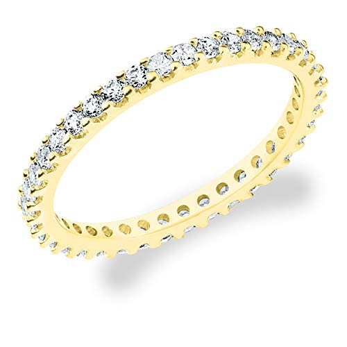 Eternity Wedding Bands 10K Yellow Gold 1/2ct Eternity Stackable Diamond Anniversary Ring, Size 8